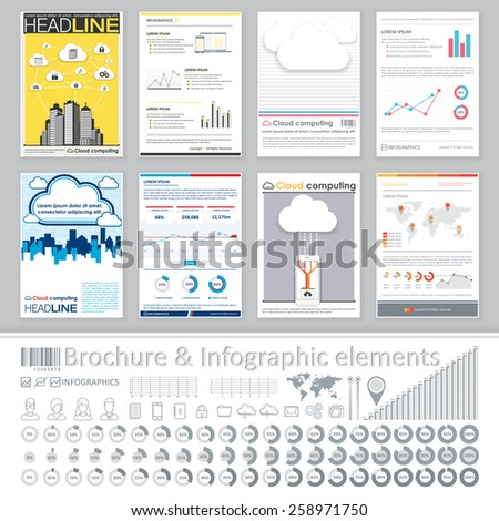 Infographics elements and Creative Brochure Template Design for cloud computing business. Abstract Vector Flyer, Pamphlet, Leaflet layout for marketing, advertising Posters, Placards, Backgrounds - stock vector