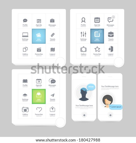 Infographics elements: Collection of colorful flat kit UI navigation elements with icons for personal portfolio website and mobile templates - stock vector