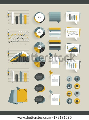 Infographics elements. Folder with diagrams, speech bubbles and graphs. - stock vector