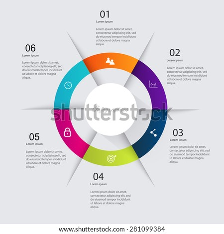Infographics elements in modern flat business style. Can be used for info graphics, graphic or website layout vector, numbered banners, diagram, flyer, corporate report, marketing etc, web. - stock vector