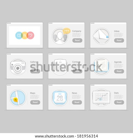 Infographics elements kit : Set of colorful flat UI navigation elements with technology icons, objects for personal portfolio website and mobile templates - stock vector