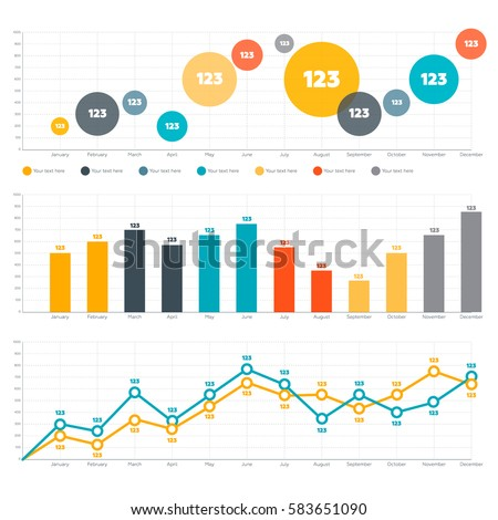 Infographics Elements Line Chart Bar Chart Stock-Vektorgrafik ...