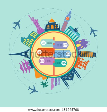 Infographics elements: Travel and Famous Landmarks. Travel concept with stylish colorful icons and guidepost - stock vector