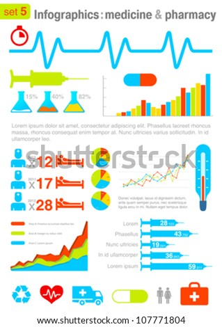 Infographics elements with icons. Medicine and Pharmacy theme. For business and finance reports, statistics, diagram graph - stock vector