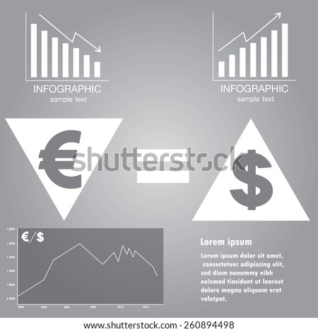 Infographics exchange rate of euro and dollar, vector  - stock vector
