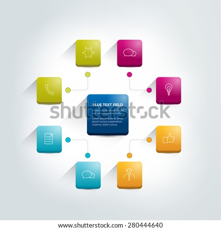 Infographics flowchart. Central scheme. - stock vector