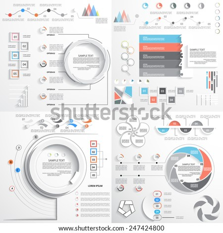 Infographics, graph and charts, templates for presentation - stock vector