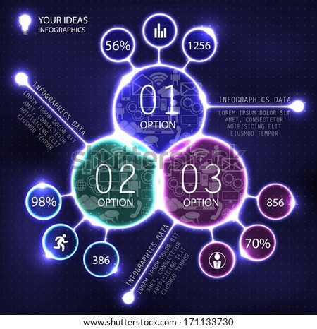 infographics high technology, futuristic design template for your data - stock vector