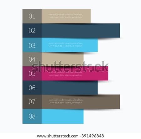 infographics horizontal stickers with options and description / colour lines with options - stock vector