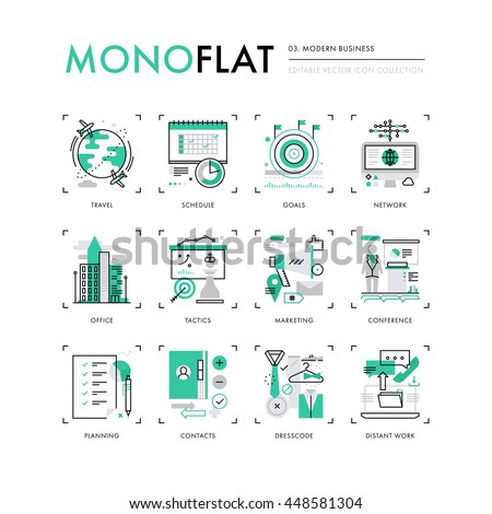 Infographics icons collection of business travel, marketing tactics, planning working goals. Modern thin line icons set. Premium quality vector illustration concept. Flat design web graphics elements. - stock vector