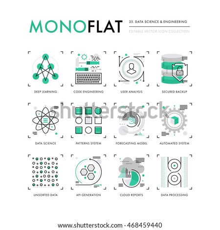 Infographics icons collection of data science, programming technology, deep learning algorithm. Modern thin line icons set Premium quality vector illustration concept Flat design web graphics elements