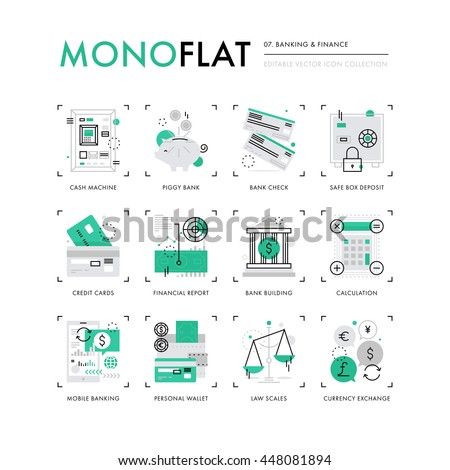 Infographics icons collection of mobile banking, personal finance, money and credit cards. Modern thin line icons set. Premium quality vector illustration concept. Flat design web graphics elements. - stock vector