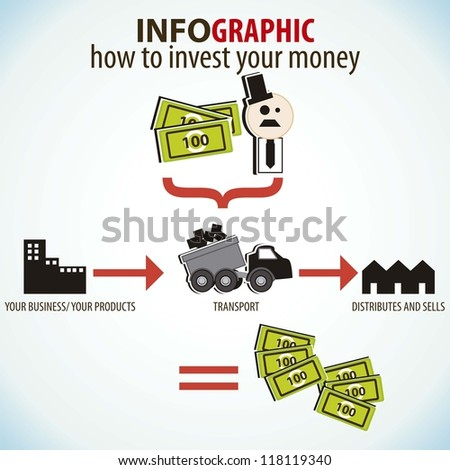 infographics icons, how to invest your money - stock vector