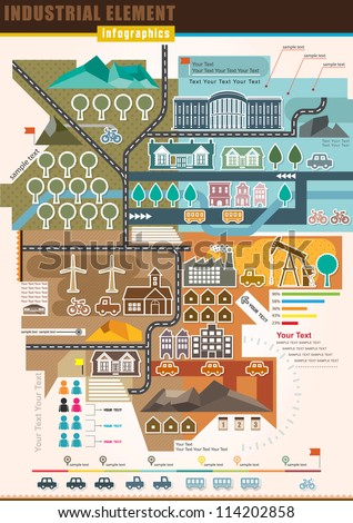 Infographics Industrial Element and residential areas , Set Of vector infographics and Information Graphics - stock vector