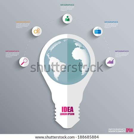 Infographics lightbulb design template - stock vector