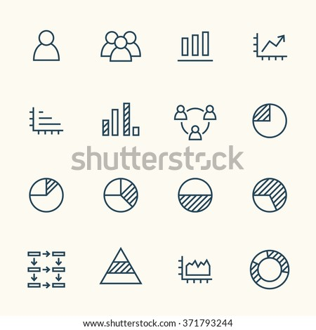 Infographics line icon set - stock vector