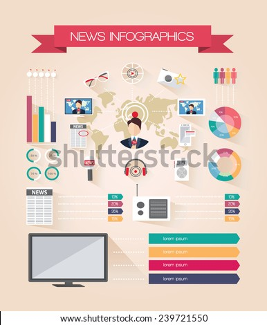 Infographics live news. Mass media journalism broadcasting news. Flat design