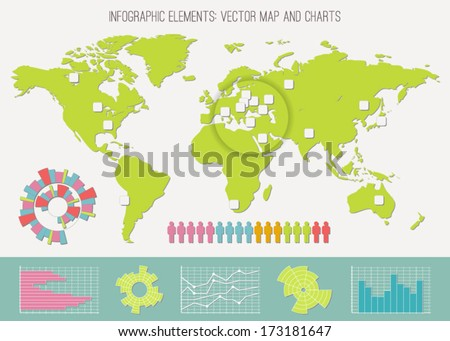 Infographics: map, diagrams and charts. Color vector