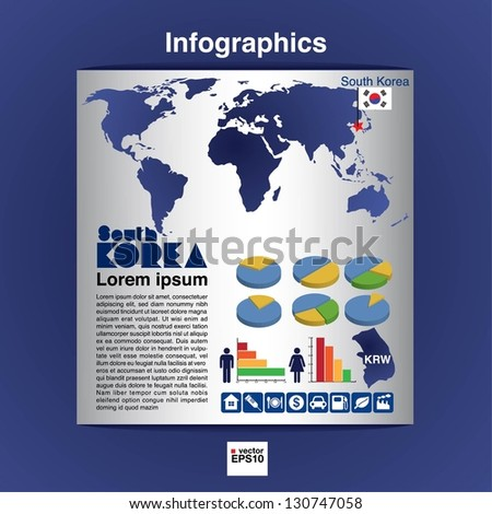 Infographics map of South Korea show population and consumption statistic information.EPS10 - stock vector