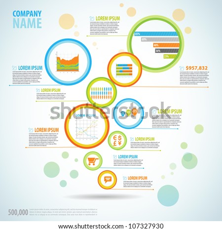 Infographics master collection: graphs, histograms, arrows, chart, icons and a lot of related design elements in flyer bubbles - stock vector