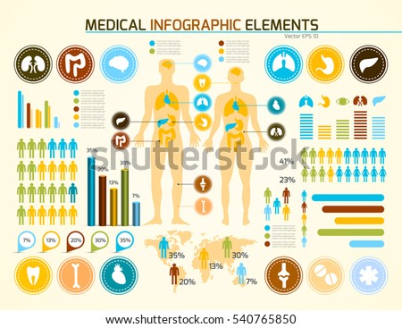 Infographics medical elements. Man in yellow. Vector illustration