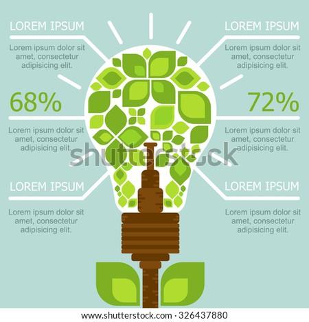 infographics nature protection. Saving electricity. natural light - stock vector