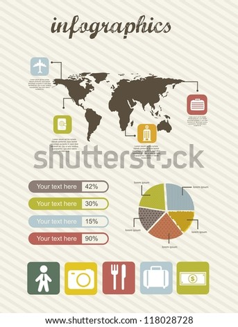infographics of business travel, vintage style. vector illustration - stock vector