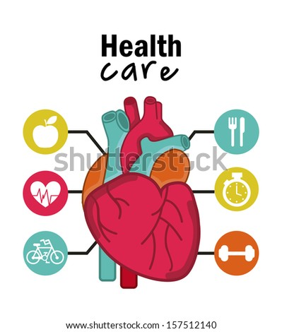infographics of cardiology design over white background vector illustration   - stock vector