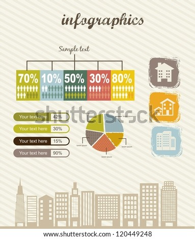 infographics of houses over beige background. vector illustration - stock vector