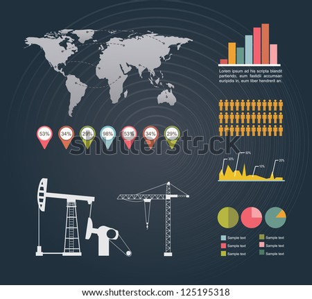 Infographics of industry over black background vector illustration - stock vector