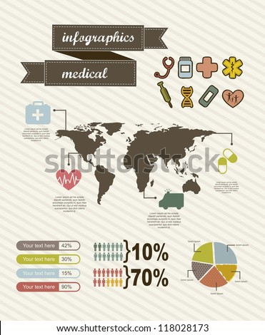 infographics of medical, vintage style. vector illustration