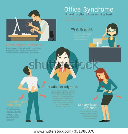 Infographics of office syndrome, unhealthy effects from working hard at workplace, numb fingers, weak eyesight, cystitis or urinary tract infection, migraine, headache, shoulder an back pain.  - stock vector