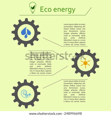Infographics of renewable energy getting from sun, water and wind. Ecology concept, alternative power sources - stock vector