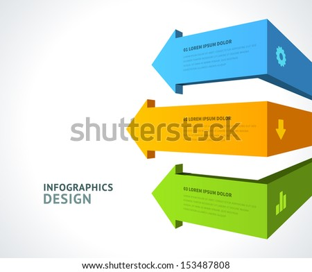 Infographics options design elements. Vector illustration. 3d arrows banner numbers and icons website eps 10.  - stock vector