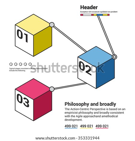 Infographics options template with 3 colorful cubes and 3 options, icons and editable text on bright background. Vector. Used for web design and workflow layout. - stock vector