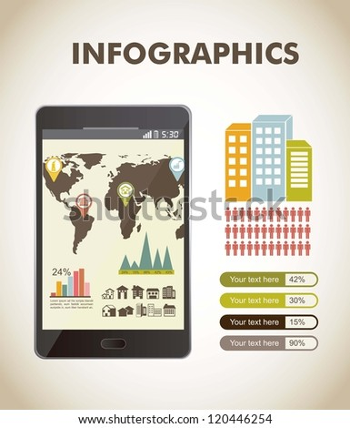 infographics over beige background, vintage style. vector - stock vector