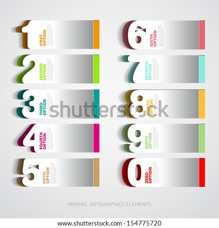 Infographics paper number options template - Vector illustration - stock vector