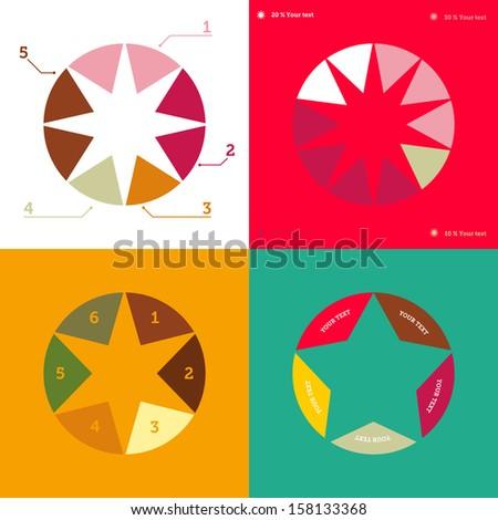 Infographics pies with stars. Christmas info graphics. Christmas survey. - stock vector