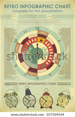 Infographics Retro elements and set of alarms - work time concept - vector illustration - stock vector