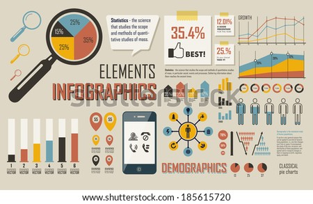 Infographics retro set. Statistics, charts and graphs. Infographic Elements. EPS-10 Vector_1 - stock vector