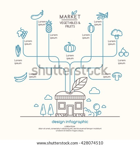 Infographics sales of organic and natural products. Vector illustration of eco store. - stock vector