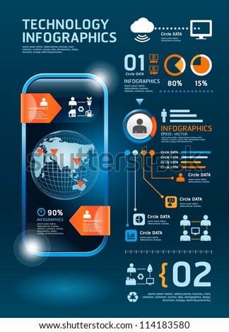 infographics set and Information technology Graphics vector - stock vector