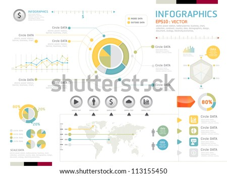 infographics set and Information vector Graphics Modern style - stock vector