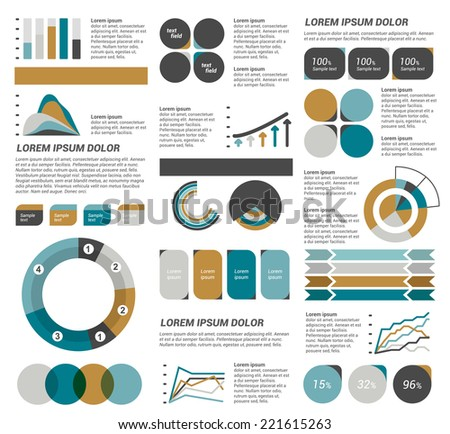 Infographics set elements. Collection of charts, diagrams, schemes, speech bubbles. Vector.