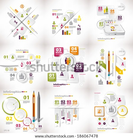 Infographics set of nine pieces on business white - stock vector