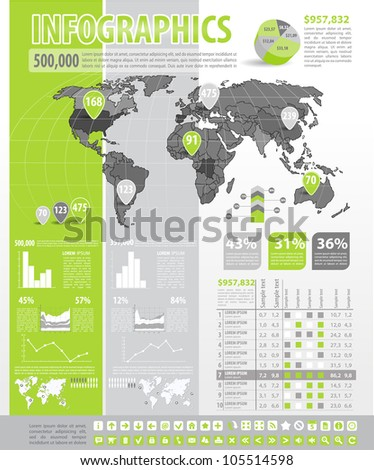 Infographics set. World Map and Information Graphics - stock vector
