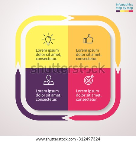 Infographics step by step in the form of a square with rounded edges and external arrows. Abstract chart, graph, diagram with 4 steps, options, parts, processes. Vector template for presentation. - stock vector
