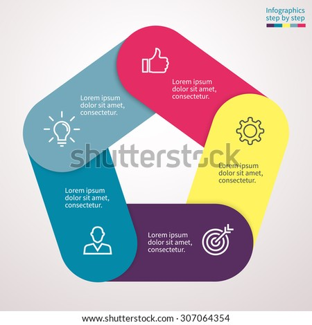 Infographics Step By Step Form Heptagon Stock Vector 310302194