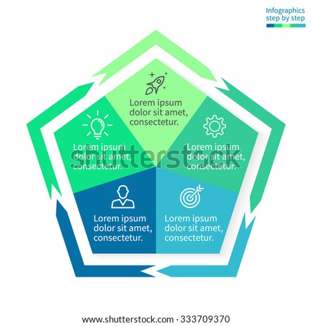 Infographics step by step in the form of pentagon. Pentagon chart, graph, diagram with 5 steps, options, parts, processes with arrows. Vector business template in blue and green for presentation. - stock vector