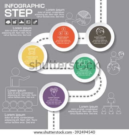 Infographics step by step. Standard pie chart, graph, options, parts, processes with arrows. Vector business template for presentation and training. - stock vector